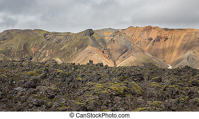 Landmannalaugar, Iceland - Colorful mountain landscape and...