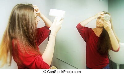Happy woman hair drying - Gorgeous woman with amazing long...