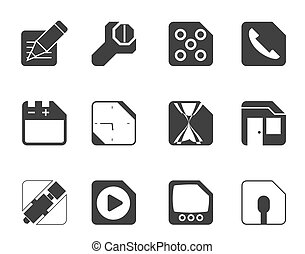 Computer and Internet Icons - Silhouette Mobile Phone,...
