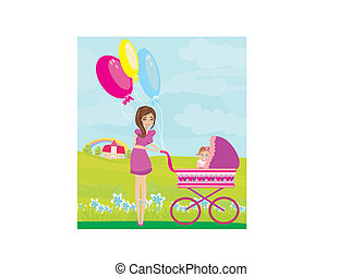 beautiful girl pushing a stroller with her daughter