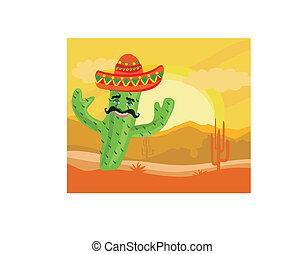 funny cactus with a sombrero in desert