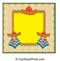Mexican frame with man in sombrero