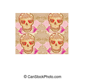 Skull and Flowers Day of The Dead Seamless Background