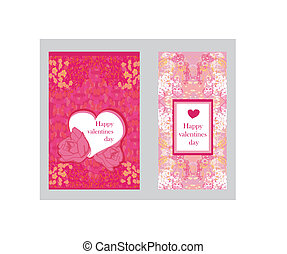 Vintage style Valentine Day Card Set