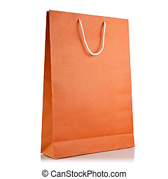 Paper shopping bag on white background - Orange Paper...