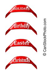 Red labels with the names of holidays -...