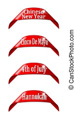 Red labels with the names of holidays - chinese new...