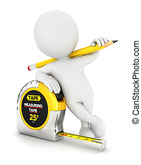 3d white people measuring tape, isolated white background,...