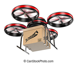 3D drone delivering a package. Parcel delivery service....