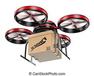 3D, zángano, entregar, paquete