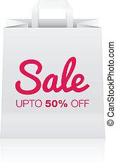 Paper bag Sale - Vector illustration of editable paper bag...