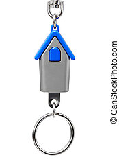 Keychain with figure of blue house on white background