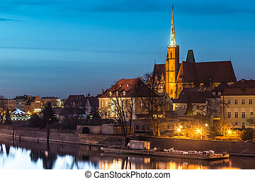 Cathedral Island in the evening Wroclaw, Poland - A...