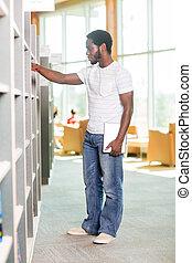 selecionar, livraria, macho, livro, estudante