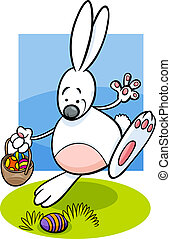 bunny and Easter eggs cartoon illustration - Cartoon...