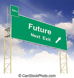Road sign concept with the text Future