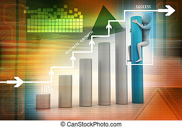 Business graph and 3d man