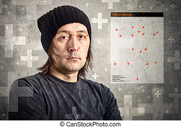Face detection software recognizing a face of man with black...