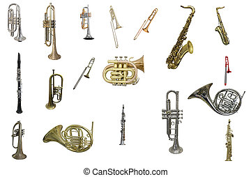 tuba - The image of wind instruments isolated under a white...