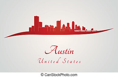 Austin skyline in red and gray background in editable vector...