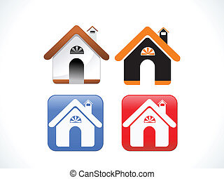 abstract multiple home icon set vector illustration