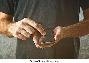 hombre, mecanografía, texto, mensaje, el suyo,...