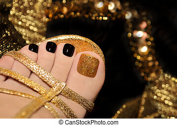 Luxury pedicure . - Luxury pedicure with black and gold...