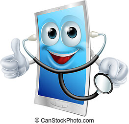 Mobile phone character holding a stethoscope - Illustration...