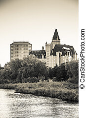 Hotel in Saskatoon - The North Saskatchewan River running...