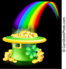 Gold at the end of the rainbow - Cartoon green St Patrick's...