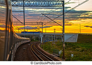 Train at the sunset