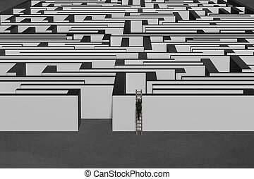 Businessman climbing on wooden ladder to top of maze wall in...