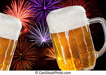 two beers with firework in the new year midnight