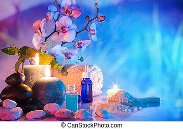 preparation for bath massage in garden - cyan red