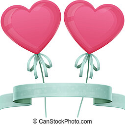 Baloon Heart - two balloons with ribbons and ropes in the...