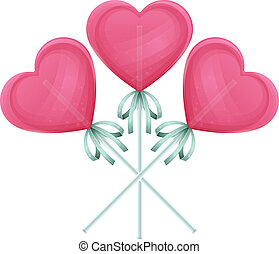Candy Heart One - Three candy on a stick in the shape of...