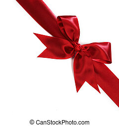 Red satin bow - Shiny red satin bow isolated on white...