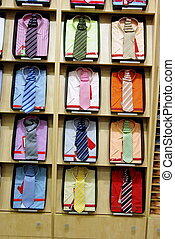 Necktie and shirts - Colorful shirts with necktie in a shop