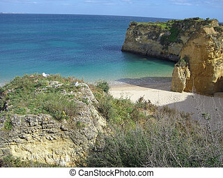 portugese coasline - famous algarve coast at portugal