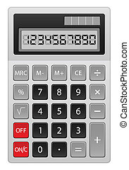 calculator - Grey calculator on white background. Vector...