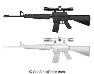 M16 sniper set - M16 set on a white background. Vector...
