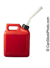 Gasoline can with clipping path - red gasoline can on white...