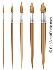 Paint brush set on a white background.