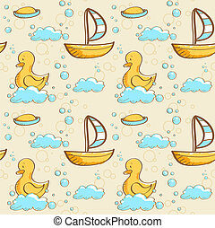 Bubble bath seamless pattern, illustration