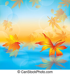 Autumn leaves on water, nature background