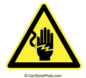 Electricity Yellow Warning Triangle - High Resolution...