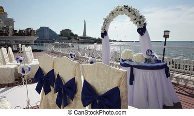 Wedding ceremony at sea.
