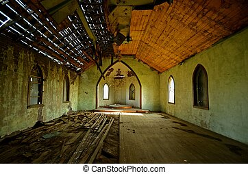 Deteriorating Interior of a Church - An uncared for roof has...