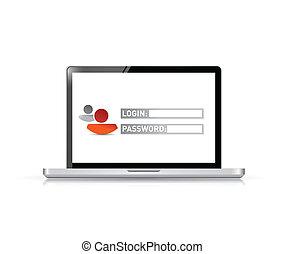 laptop computer login illustration design