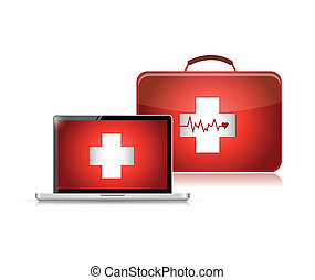 medical support technology illustration design over a white...